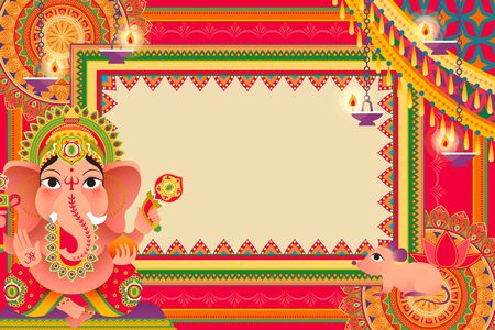 Gorgeous Ganesh Chaturthi festival background design with Hindu god Ganesha