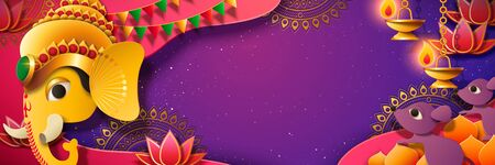 Ganesh Chaturthi festival banner with golden color Hindu god Ganesha head, purple background