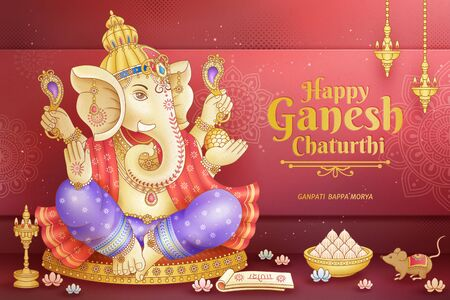 Happy Ganesh Chaturthi design with god Ganesha holding ritual implement Ilustração