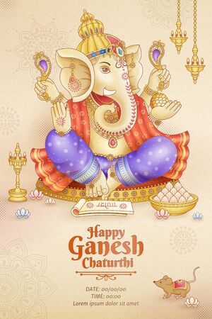Happy Ganesh Chaturthi poster design with god Ganesha holding ritual implement