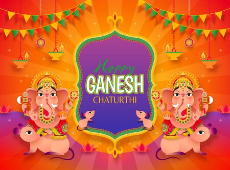 Ganesh Chaturthi festival with Hindu god Ganesha riding on mushika, orange striped background 일러스트