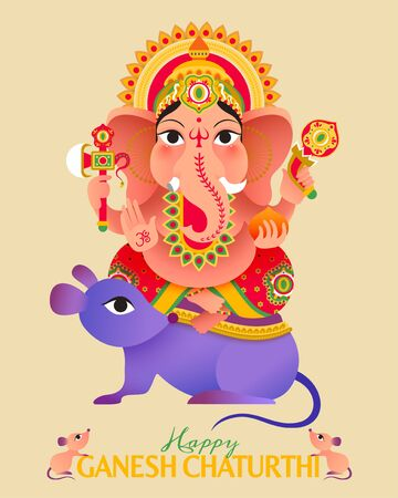 Ganesh Chaturthi festival lovely Hindu god Ganesha sitting on giant mice