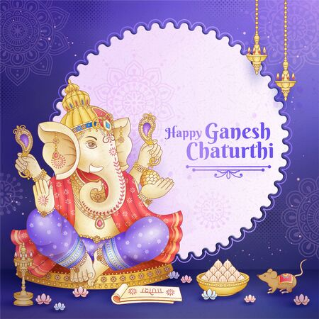 Happy Ganesh Chaturthi design with god Ganesha holding ritual implement on purple background