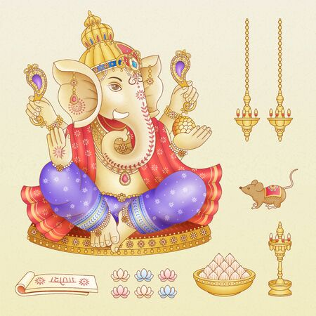 Ganesh Chaturthi festival symbol collections on beige background Illustration