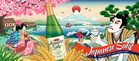 Ukiyo e style Japanese sake ads with people drinking rice wine Ilustração