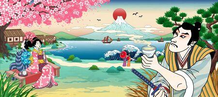 Ukiyo e style Japanese people drinking rice wine or tea and viewing beautiful fuji mountain Vettoriali