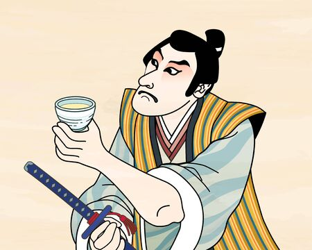 Ukiyo e style kabuki actor enjoying sake