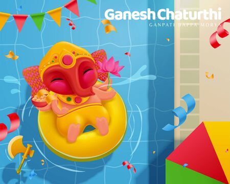 Happy Ganesh chaturthi with lovely baby Ganesha floating upon the swimming pool, top view