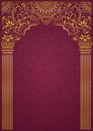 Elegant golden arch and pillar on burgundy red background