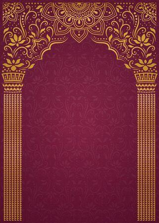 Elegant golden arch and pillar on burgundy red background Vettoriali
