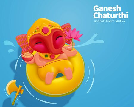 Happy Ganesh chaturthi with lovely baby Ganesha floating upon water, top view Stok Fotoğraf - 128366319