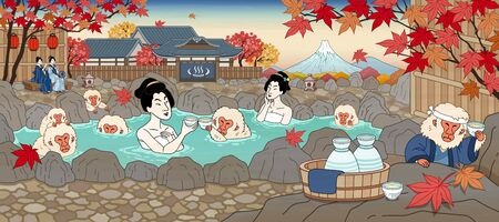 Japanese ukiyo-e style women and cute monkey enjoying outdoor hot spring and sake, beautiful maple scenery