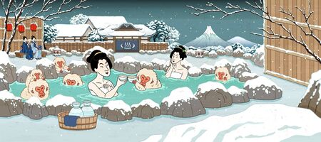 Japanese ukiyo-e style women and cute monkey enjoying outdoor hot spring and sake, beautiful winter snowy scenery 向量圖像