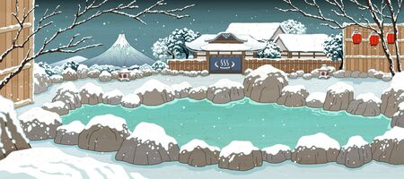 Japanese ukiyo-e style hot spring covered by snow