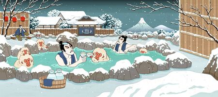 Japanese ukiyo-e style men and cute monkey enjoying outdoor hot spring and sake, beautiful winter snowy scenery