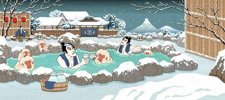 Uomini giapponesi in stile ukiyo-e e scimmie carine che si godono la primavera calda all'aperto e il sake, uno splendido scenario invernale innevato Vettoriali