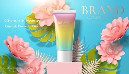 Gradient skincare tube ads on pink square podium with paper art flowers in 3d illustration 版權商用圖片 - 130601361
