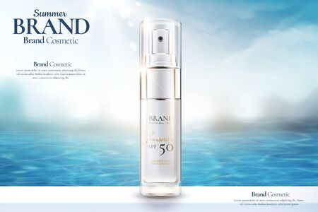 Anuncios de botellas de spray cosmético en el fondo del océano en la ilustración 3d