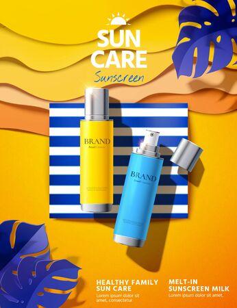 Prodotto per la protezione solare sdraiato sulla spiaggia di carta artistica con foglie tropicali in illustrazione 3d, pubblicità di protezione solare