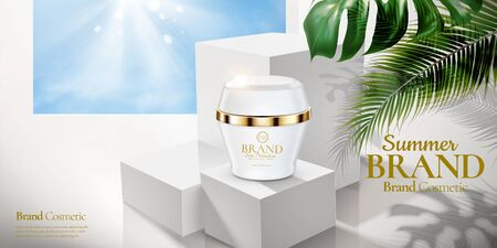 Cosmetic cream jar ads on white square podium with tropical leaves in 3d illustration