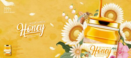 Closeup look at wildflower honey glass jar in 3d illustration on yellow woodcut style flower background