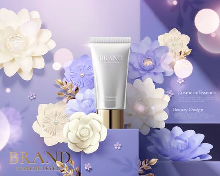 Cosmetic skincare tube ads on purple square podium with paper art flowers in 3d illustration