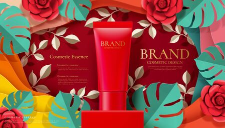 Red cosmetic tube ads on square podium paper art tropical leaves and flowers in 3d illustration