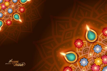 Elegant happy Diwali with oil lamp on rangoli pattern design, top view perspective