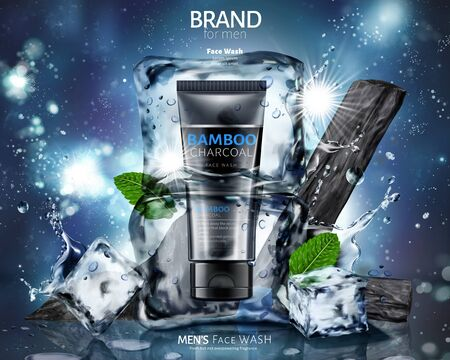 Bamboo charcoal face wash ads with ice cubes on glitter universe background in 3d illustration