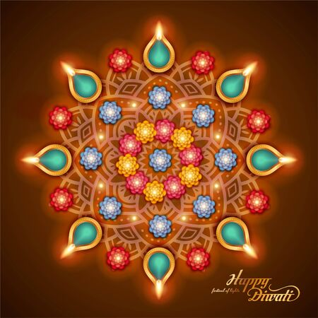 Elegant happy Diwali with oil lamp on rangoli pattern design, top view perspective Illusztráció