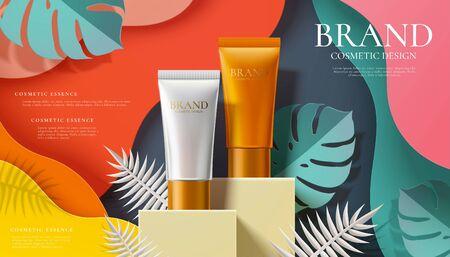 Cosmetic plastic tube ads on paper art jungle background in 3d illustration Illustration