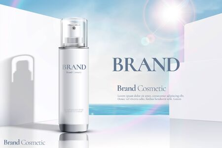 Cosmetic spray bottle ads on modern white wall and ocean background in 3d illustration