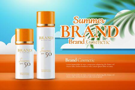 Summer sunscreen ads on paper art blue sky background in 3d illustration