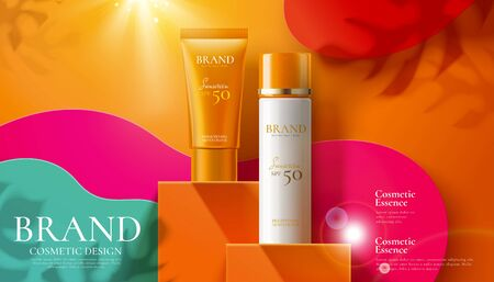 Sunscreen product ads on orange square podium and paper art background in 3d illustration Standard-Bild - 130601379