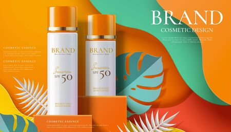 Anuncios de aerosol de protector solar en el podio cuadrado naranja con hojas tropicales de arte en papel en la ilustración 3d Ilustración de vector