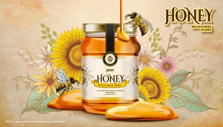 Wildflower honey ads with sweet liquid dripping down from top on woodcut style flowers garden in 3d illustration