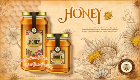 Wildflower honey ads on retro woodcut style sunflowers background in 3d illustration