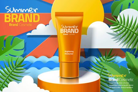 Orange skincare plastic tube ads on summer sunshine paper art background with tropical leaves in 3d illustration