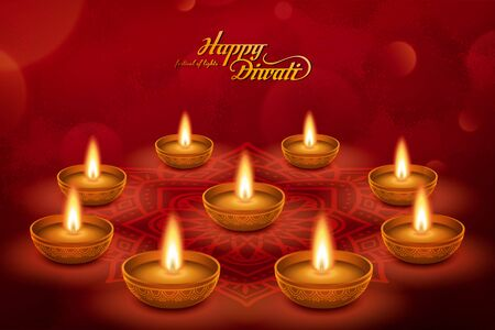 Elegant happy Diwali with oil lamp on rangoli pattern design, bokeh red background Ilustração