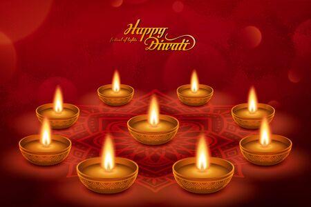 Elegant happy Diwali with oil lamp on rangoli pattern design, bokeh red background Illustration