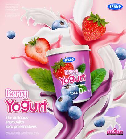 Annunci di yogurt ai frutti di bosco con spruzzi di salsa e fragole, mirtilli su sfondo rosa in illustrazione 3d