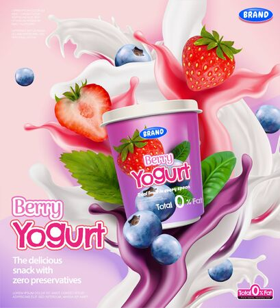 Berry yogurt ads with splashing sauce and strawberries, blueberries on pink background in 3d illustration Stock Illustratie