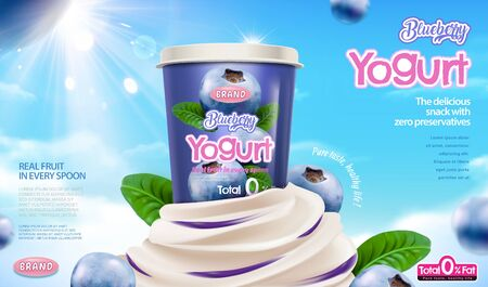 Blueberry yogurt ads with cream sauce on blue background in 3d illustration
