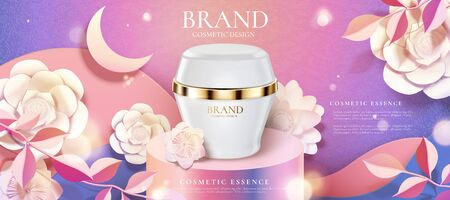 Cosmetic cream product ads on round podium and paper art flowers, purple background in 3d illustration