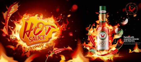 Hot-Chili-Sauce-Werbebanner mit brennendem Feuereffekt in 3D-Darstellung Vektorgrafik