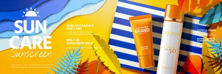 Annunci di banner di prodotti per la protezione solare che si trovano sulla spiaggia di arte di carta in illustrazione 3d