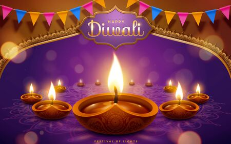 Happy Diwali festival with oil lamps and flags on purple background