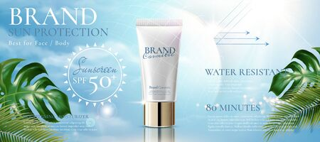 Sunblock product ads with translucent protective shield and tropical leaves on blue sky in 3d illustration