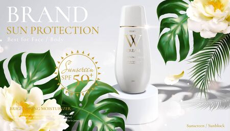 Sunblock cream product with tropical leaves and flowers in 3d illustration