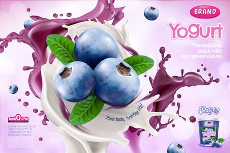 Blueberry yogurt ads with splashing sauce on purple background in 3d illustration Illusztráció
